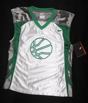 BOYS 6 - Nike - White-Gray-Green BASKETBALL SPORTS JERSEY - $17.14