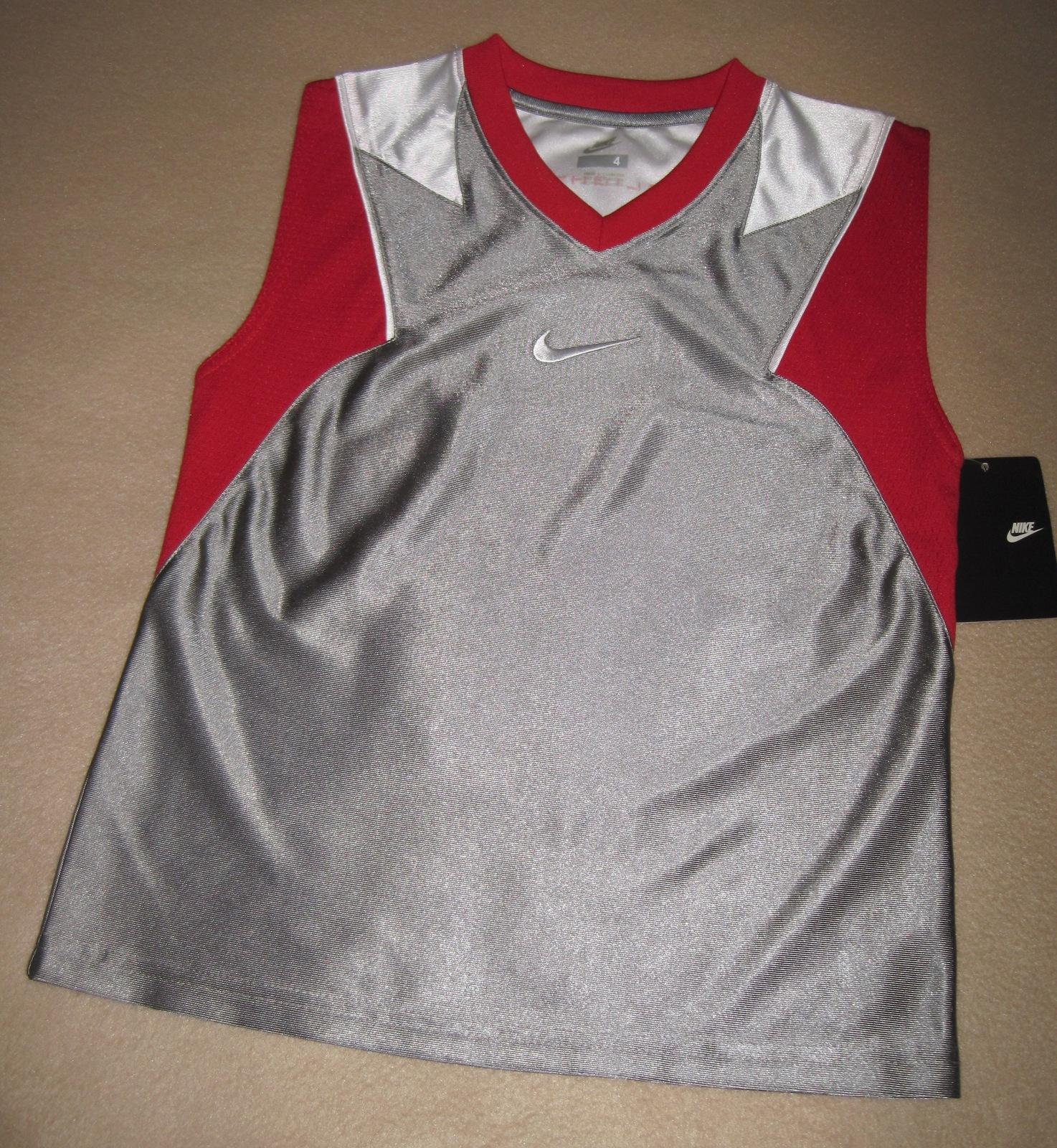 BOYS 7 - Nike - Flight Grey-Red-White BASKETBALL SPORTS JERSEY