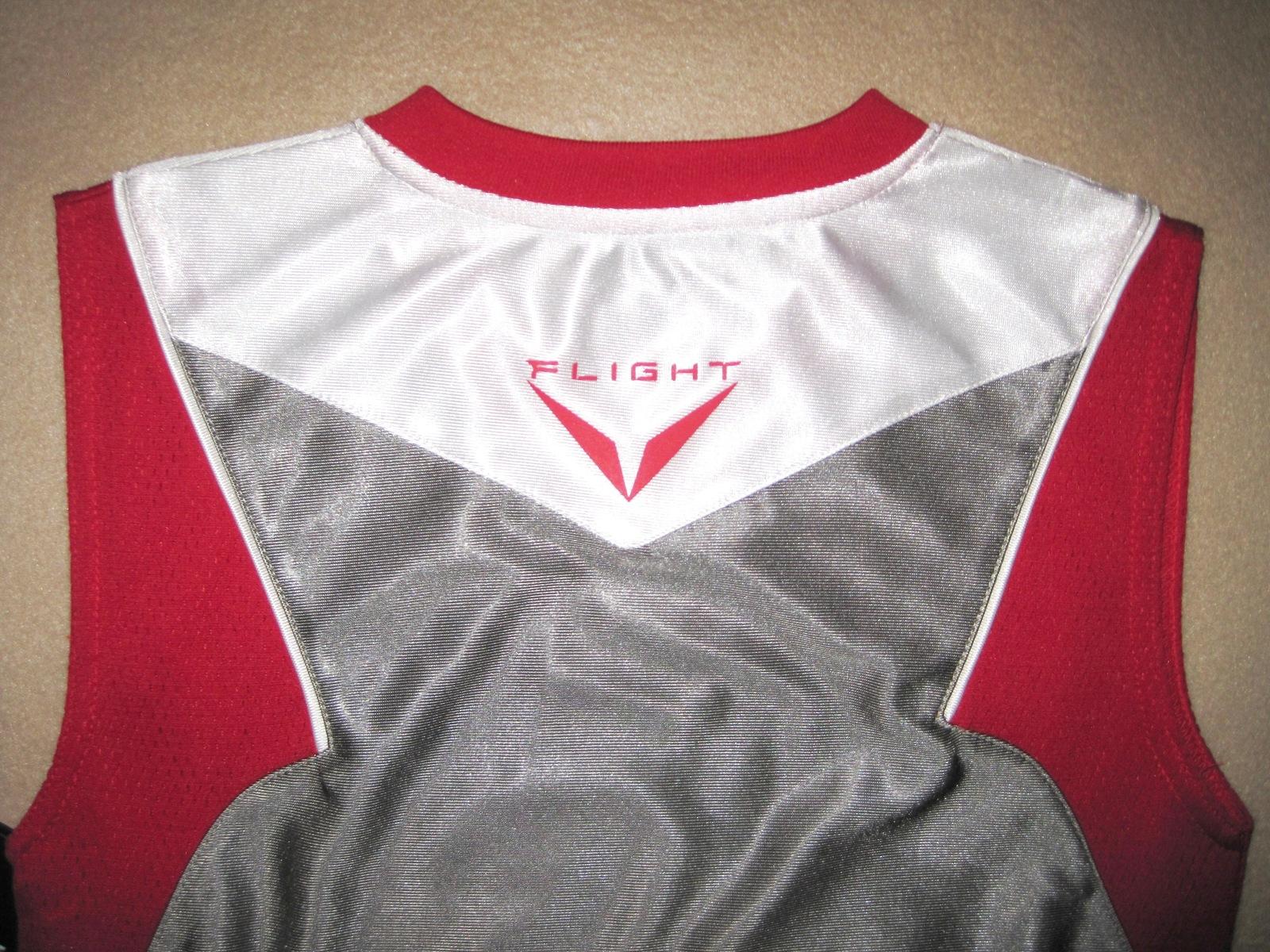 BOYS 7 - Nike - Flight Grey-Red-White BASKETBALL SPORTS JERSEY image 5