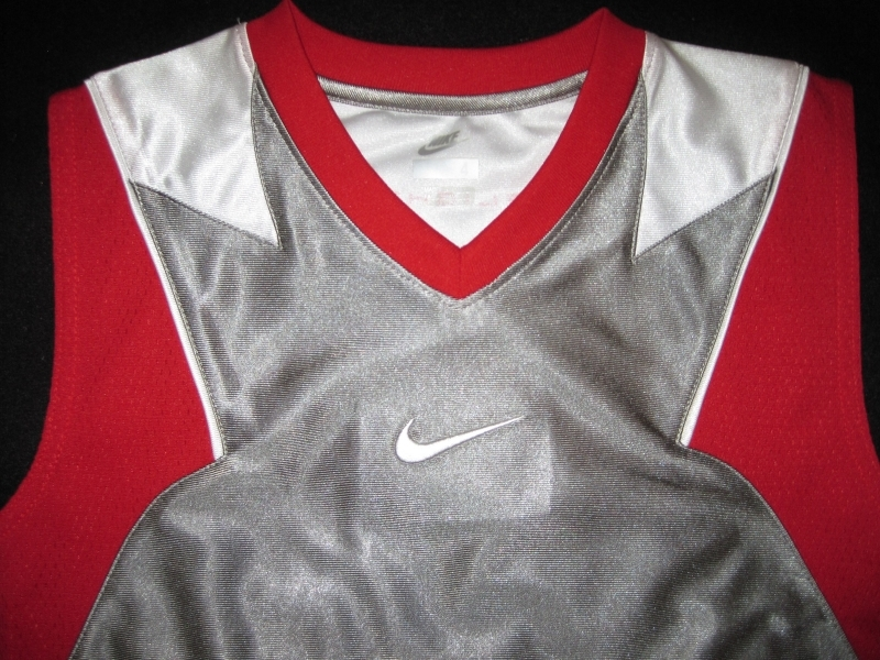 BOYS 7 - Nike - Flight Grey-Red-White BASKETBALL SPORTS JERSEY image 9