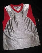 BOYS 7 - Nike - Flight Grey-Red-White BASKETBALL SPORTS JERSEY image 10