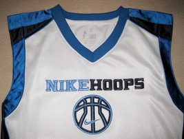 BOYS 6 - Nike Hoops - White-Electric Blue-Black BASKETBALL SPORTS JERSEY image 4