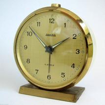 """ANKRA"" Germany Rare Vintage Alarm Clock One Spring Design Gold Dial Rin... - $34.65"