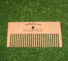"Small Wooden Comb Signed ""Gift from Schwarzkopf & Henkel"" in Bulgarian - Cyrilic - $18.31"