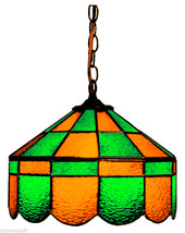GREEN & GOLD 14 INCH STAINED GLASS EXECUTIVE HANGING BAR LAMP PUB LIGHT FIXTURE - €342,51 EUR