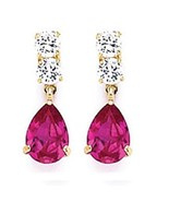 14K GOLD TEAR DROP DANGLING EARRINGS - $44.10
