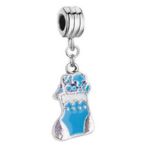 Pugster Christmas Charms Christmas Blue Stockings Spacer Dangle Beads Eu... - $8.49