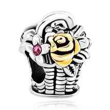 Pugster Silver P Gold Pink Crystal Flower Rose Charm Bracelet Blossom Ba... - $12.49