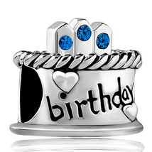 Pugster September S Birthday Cake Sapphire Crystal Candles Holiday Charm - $12.49
