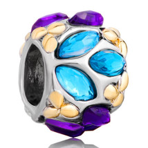 Pugster Silver Blue Purple Flower Charm Bracelets Cz Crystal Element Cry... - £11.07 GBP