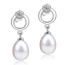Pugster Sterling Silver Circle Dangle White Shell Freshwater Pearl Earrings - $15.99