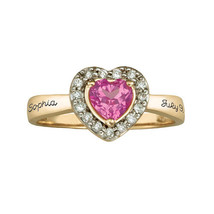 Personalized Heart 10k Gold Plate Princess Birthstone Ring Cz Accents Si... - $55.00