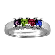 Mother's Princess-cut Simulated Birthstone Band In Sterling Silver (2-6 ... - $35.00