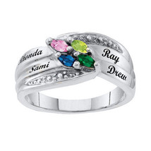Mom's Personalized Marquise Birthstone Ring 10k White Gold Plated(2-6 St... - $79.00