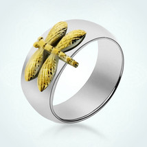 925 Sterling Silver Personalized Gold Plated Dragonfly Ring Customed Rin... - $40.00