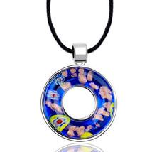 Pugster Blue Millefleurs Murano Glass Donut Pendant Necklace - $25.49