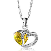 Pugster Open Heart Necklace Silver Plated Love Pendant Sparkle In Neckla... - $23.99