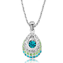 Drop Clear&peridot Crystal Dangle Blue Zircon Crystal Pendant Necklace W... - $38.49
