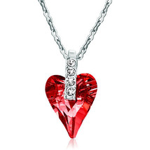 Pugster Classic Indian Red Swarovski Crystal Wild Heart Pendant Necklace... - $32.49