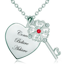 Pugster 925 Sterling Silver Conceive Believe Achieve Ruby Red Clear Swar... - $46.99