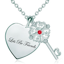 Pugster 925 Sterling Silver Lets Be Friends Heart Love Light Red Swarovs... - $46.99