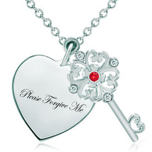 Pugster 925 Sterling Silver Please Forgive Me Heart Love Light Red Swaro... - $46.99