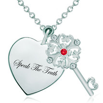 Pugster 925 Sterling Silver Speak The Truth Heart Love Light Red Swarovs... - $46.99