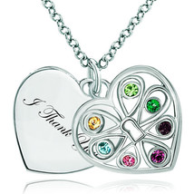 Pugster 925 Sterling Silver I Thank You Double Heart Love Multi Color Sw... - $46.99