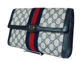 Authentic GUCCI GG Pattern PVC Canvas Leather Navy Blue Clutch Bag GP1951 - $298.00