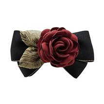 Artificial Red Rose Flower Cloth Hair Pin Handmade Bowknot Hair Barrette... - $12.65