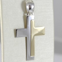 18K WHITE AND YELLOW GOLD CROSS STYLIZED VERY LUSTER  MADE IN ITALY 1.42 INCHES image 1