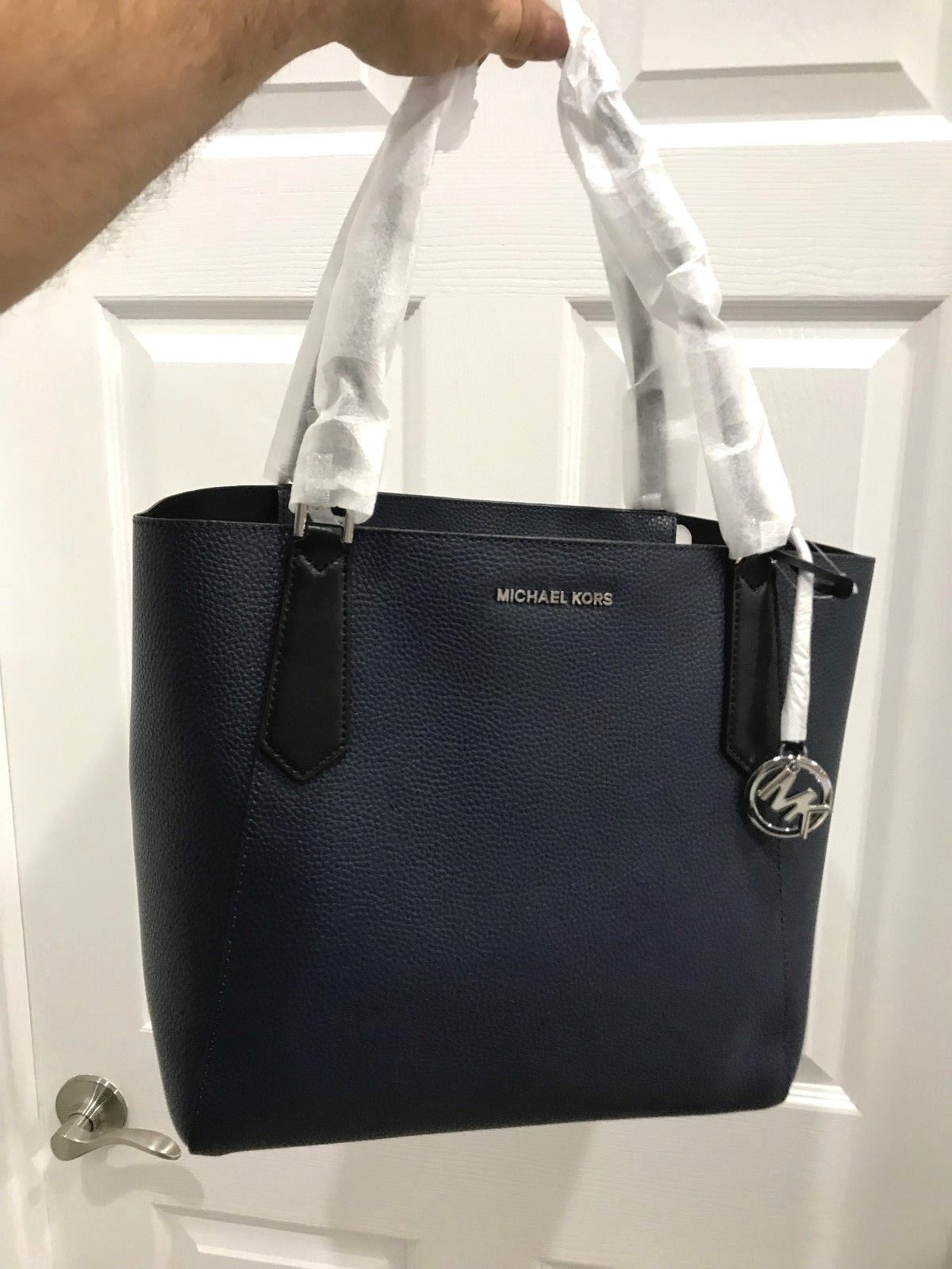 2265342f9f26 Michael Kors Kimberly Lg Slouchy T/Z Bonded Shoulder Tote in Navy Blue $348