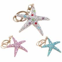 Rhinestone Keychain Lovely Starfish Pendant Ring Bag Phone Car Decor Pur... - $8.05