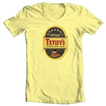 Tetley's English Ale T-shirt beer 100% cotton graphic printed yellow tee image 1