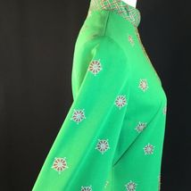Vtg Green Alfred Shaheen Exotic Mod Tunic Dress Signed Print MCM Polypop S/M image 8