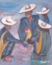RARE 1970 HAITIAN COCK FIGHTING OIL PAINTING BY DURAND - $484.14