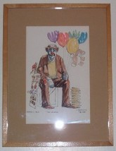 "RARE 1978 CIRCUS CLOWN ""THE VENDOR"" LITHO PRINT HAMMOND - $191.64"