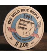 """$1.00 Casino Chip From: """"Menominee Nation Casino""""- (sku#2904) - $7.75"""