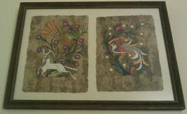RARE 2 IN 1 FRAMED AMATE BARK MEXICAN FOLK ART ... - $191.99