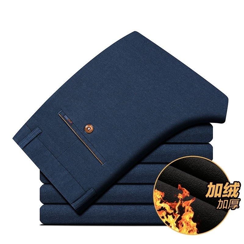 New winter men's casual pants thickened elastic pants Mens velvet trousers