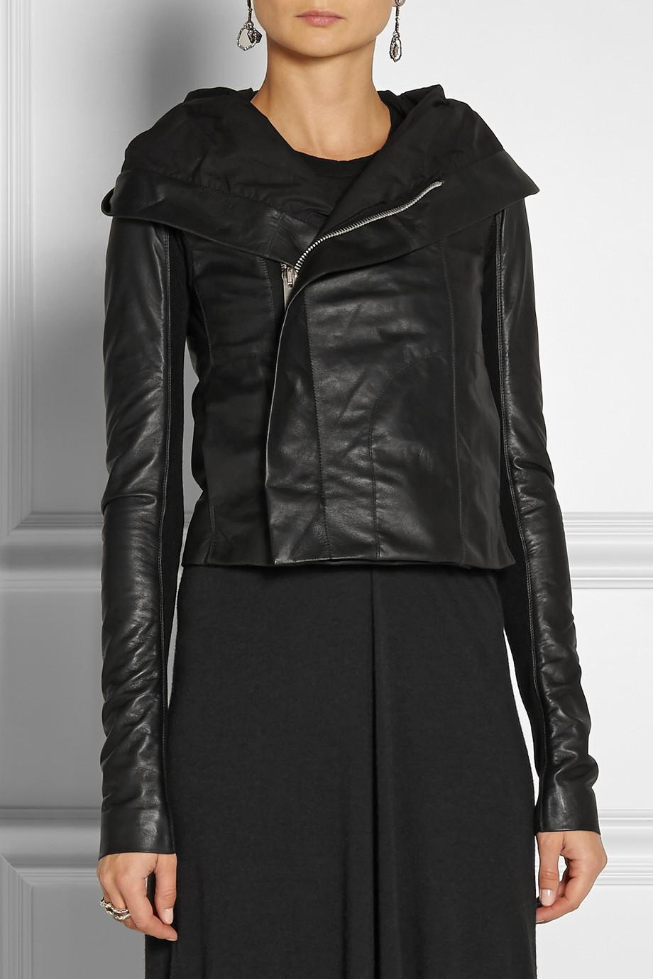 WOMENu0026#39;S HOODED LEATHER JACKET WOMEN BLACK COLOR LEATHER JACKET FASHION JACKET - Coats U0026 Jackets