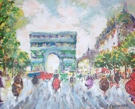 RARE CHEVALIER FRENCH IMPRESSIONIST PARIS OIL PAINTING - $2,064.50