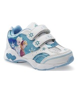 Disney FROZEN Girl's size 9 Light Up Velcro NEW Sparkly Sneaker Shoes An... - $26.99