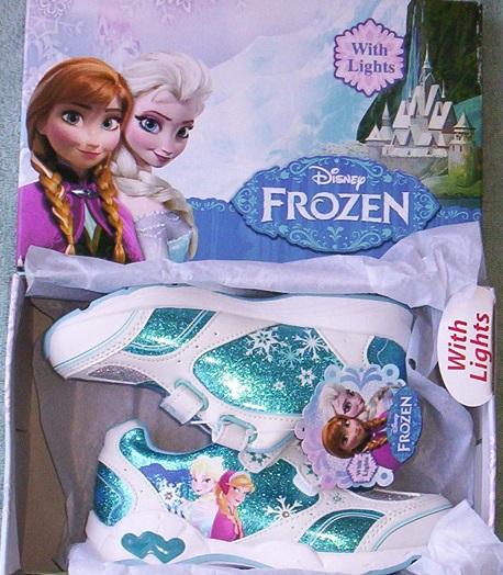 Disney FROZEN Girl's size 9 Light Up Velcro NEW Sparkly Sneaker Shoes Anna Elsa