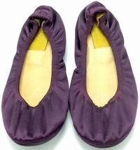 LANVIN HIVER 2007 Women's Satin Ballet Flat Purple Size 37 Plum Leather Shoes - $79.20