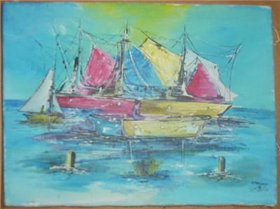 RARE EMMANUEL MIDY AFRICA HAITI CARIBBEAN ART PAINTING