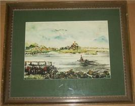 RARE EUROPE SCENIC ART WATERCOLOR PAINTING BY NACHTIGAL - $2,254.51