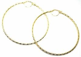18K YELLOW GOLD BIG CIRCLE HOOPS DIAMETER 65mm EARRINGS TUBE 2mm BRAIDED STRIPED image 2
