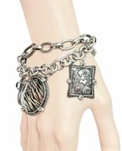 Tiger-Zebra Animal Print Charmed Statement Bracelet, Rhinestones Urban J... - $15.20