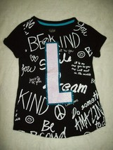 Justice Girls Top Sz 8 10 Black Be Kind Monogram Glitter L T-Shirt Sprin... - $19.79